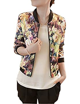 HARRYSTORE Las mujeres 1PC colocan la chaqueta de bombardero impresa floral de la cremallera de la manga larga...