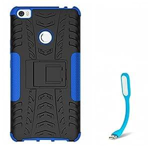 Mobicrafft Hybrid Military Grade Armor Kick Stand Back Cover Case for Xiaomi Mi Max (Blue) + USB Flexible LED Light