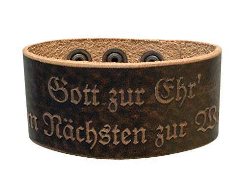 Lederarmband Herren-Armband braun Herrenarmband f. Lederhose Leder Tracht Damen Bayern Austria O´zapft is Weidmanns Heil Feuerwehr Gott zur Ehr, Gott zur Ehr dem Nächsten zur Wehr, L 23 cm, B 3,8 cm