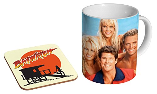 90s Baywatch Cast Coffee Mug with Coaster