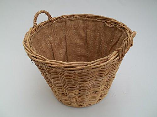 Kaminkorb, Holzkorb, Erntekorb aus Boondot (Rattan), hell natur, mit Futter, Größe 1