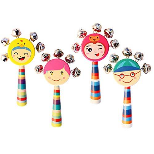 Aiming Baby-Lächeln Gesichter Natürliche Holz Handglocken Rasseln Ausbildung Klingel Ring Spielzeug für Kinder/Kinder zufällige Farbe (Baby-rassel Natürliche)
