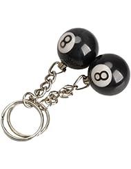 RETYLY 2x dell'anello chiave della catena chiave di palla da biliardo felice No. 8