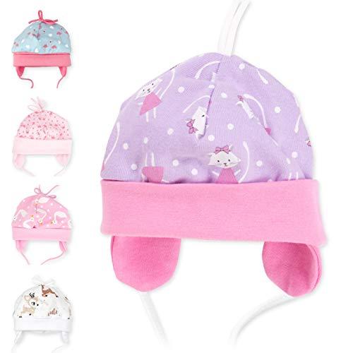 Baby Sweets Baby Mütze Mädchen Flieder | Motiv: Sweet Kitty | Babymütze zum Binden für Neugeborene & Kleinkinder | Größe: 9 Monate (74)...