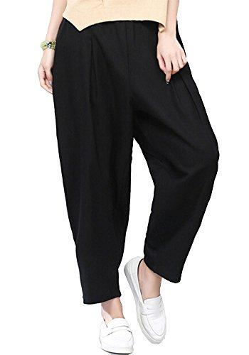 ONECHANCE Frauen Leinen Baumwolle Elastische Taille Loose Harem Hosen Capri Hosen Taschen Schwarz