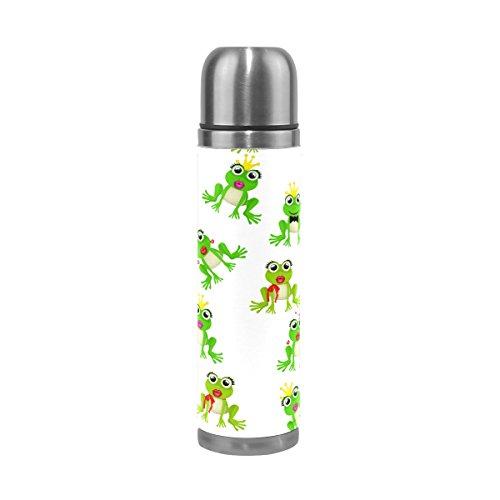 TIZORAX Frosch Prinz Oder die Prinzessin doppelwandige Vakuum Cup Isolierte Edelstahl-Flasche Travel Becher Thermos Kaffee Tasse 17oz (Kaffee-prinz-becher)