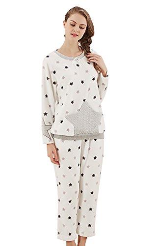 YouPue Pyjamas Sets Femmes Velours Corail Pyjamas Tricotage Costume Manches Longues Pull-over Pyjama Homewear Loungewear Etoile Impression Blanc