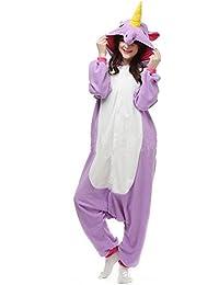 JYSPORT Unicornio Pijama Cosplay Animal Ropa Disfraces Carnaval Halloween Navidad Pijama (púrpura, M: