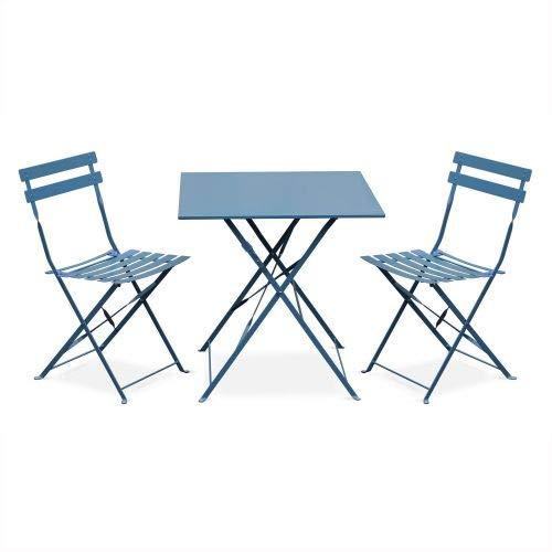Salon de Jardin bistrot Pliable - Emilia carré Bleu grisé - Table 70x70cm avec Deux chaises Pliantes, Acier thermolaqué