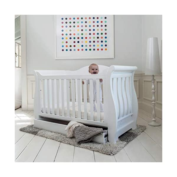 Boori Sleigh Royale 2 Piece Nursery Room Set, Wood, Barley White Boori Boori 2 piece nursery furniture set including the Sleigh Royale Cot Bed and Sleigh 3 Drawer Chest with removable changing station. Cot bed made with 100% sustainable solid wood, dresser made with sustainable solid wood parts. All Boori cot beds convert to a toddler bed suitable from birth to 5 years. (Toddler Guard Panel available separately). 3