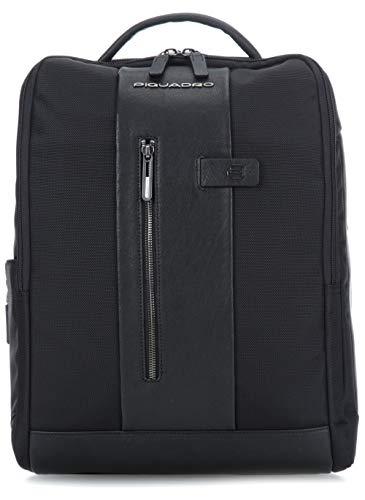 Piquadro Zaino Nero Tessuto e Vera Pelle Porta PC 15,6' Porta iPad Cavo antifurto Tasca per CONNEQU 31x41x12cm Protezione Anti-frode RFID CA4818BR/N