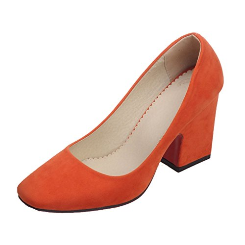 ENMAYER Femmes Nubuck Sexy Square Toe Bloc High Heel Confort Bureau de Travail Pompes Court Shoes Orange