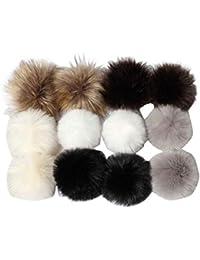 cee0d38bfa26 ILOVEDIY BRICOLAGE 12Pcs Faux Renard Fourrure Pompon Boule Fluffy 10cm pour  Tricot Chapeau Chapeaux