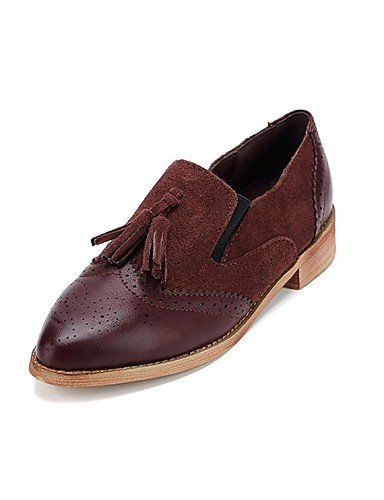 ZQ gyht Scarpe Donna - Mocassini - Tempo libero / Casual - Comoda / A punta - Piatto - Scamosciato - Nero / Borgogna , black-us8 / eu39 / uk6 / cn39 , black-us8 / eu39 / uk6 / cn39 burgundy-us6.5-7 / eu37 / uk4.5-5 / cn37