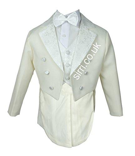 Jungen 5 Stück Tuxedo Anzug, Taufe, Hochzeit Anzug Tuxedo für Baby und Jungen Smoking (Tuxedo Weste Weiß Satin Formale)