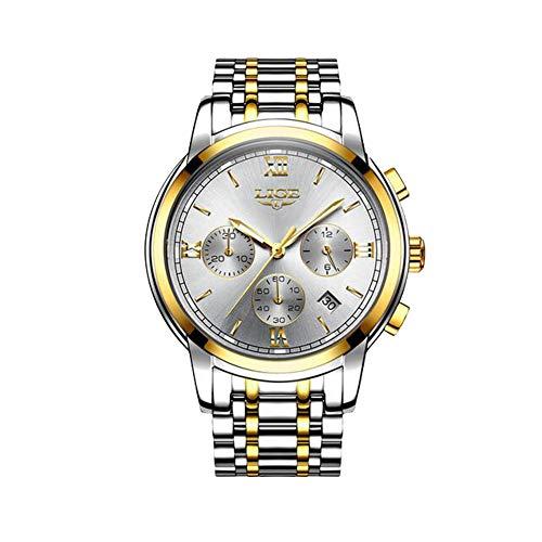 Herrenuhren Marke LIGE Edelstahl Business Armbanduhr Herren Wasserdicht Leuchtend Sport Analog Quarz Armbanduhr Mann Gold Blau Uhr - Uhren Zum Männer Verkauf