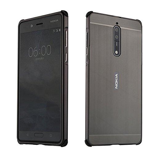 HUDDU Hart Metall Rückseite Schutzhülle für Nokia 8 Handyhülle Brushed Aluminium Stoßfest Hülle Slim Hardcase 2 in 1 Gebürstet Case Bumper Schutz Etui Back Cover für Nokia 8 Schwarz