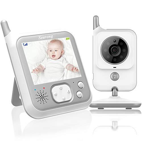 Babyphone mit Kamera Video Baby Monitor 3.2 Zoll Babyfon mit Talk Back und Temperaturüberwachung,Nachtsichtkamera,Schlaflieder,Nachtsicht, Intercom-Funktion VOX