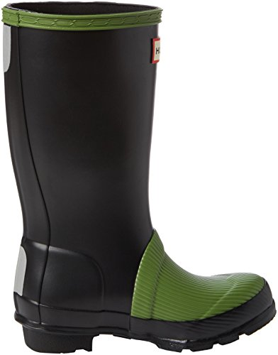 Hunter Orig Ribbed Toe Unisex-Kinder Stiefel Black (Pea Green/Black-0Pgb)