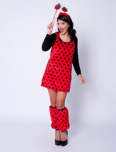 Marienkäfer Erwachsene Kostüm Für (Kleid Marienkäfer Plüsch Damen)