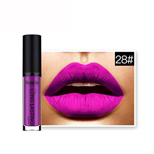 Rouges à lèvres,Covermason Imperméable à l'eau mate liquide rouge à lèvres longue durée Lip Gloss à lèvres (28#)