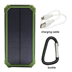 Solar Charger, Solar External Battery Pack, iBeek® Portable 12000mAh Dual USB Solar Battery Charger Power Bank Phone Charger with Carabiner LED Lights for Emergency Cell Phones Tablet Camera (Green)