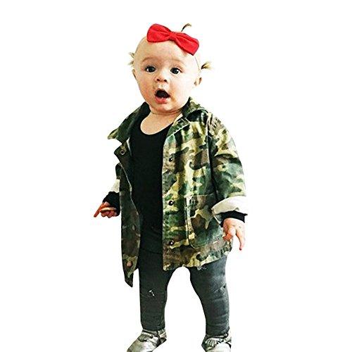 Bebé niños niñas abrigo chaqueta, Yannerr chico sudaderas Carta de camuflaje ropa de mezclilla capa gruesa (80)