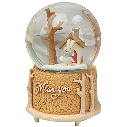 Justdolife Schneekugel Cute Cartoon Kristallkugel LED Licht Spieluhr -