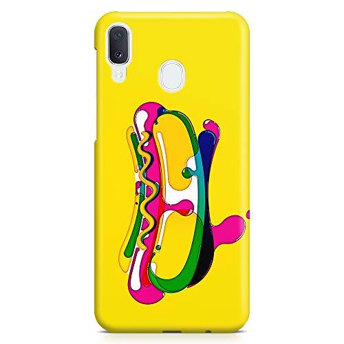 ItalianCaseDesign Cover Custodia Protettiva Case Hot Dog Cibo Panino Disegno Pennello Acqua Stile Compatibile con Samsung Galaxy A20e