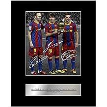 Andrés Iniesta, Lionel Messi, Xavi firmado foto enmarcada Barcelona FC