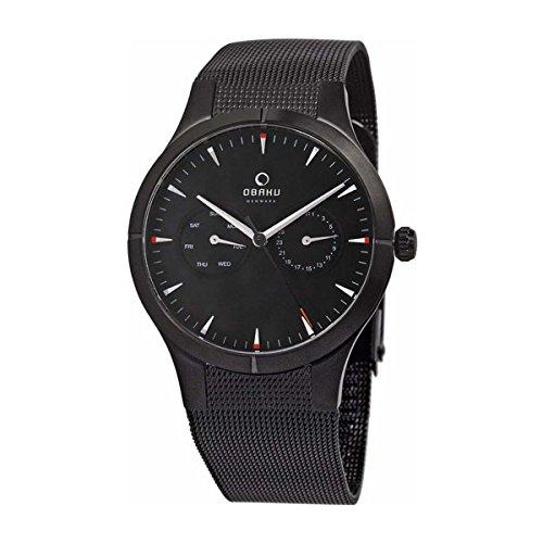 Obaku By Ingersoll Gents Black Dial Stainless Steel Bracelet Watch