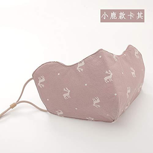 Xiumin Mund Maske,Winter staubdicht und atmungsaktiv Stickerei Mode niedlich waschbar Baumwollmaske, Hirsch Khaki