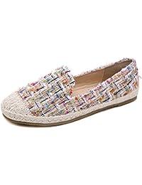 Mujer Zapatos Planos Zapatillas sin Cordones en Tweed Cómodo y Transpirable Espadrilles para Mujer