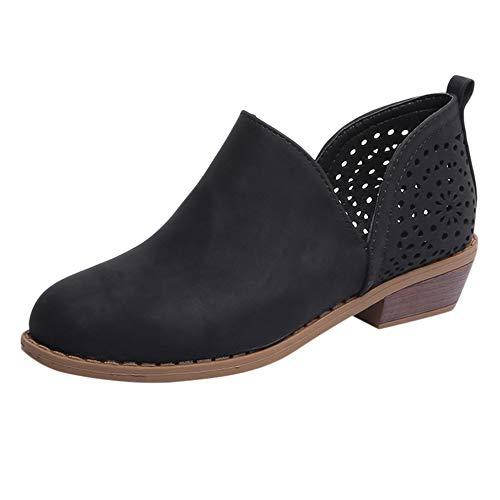Boots Stiefeletten Damen ♥ Loveso♥ Kurzschaft Kurze mit Absatz Ankle Boots Bequem Stiefel Sommer Aushöhlen Low Top Ankle Boots Blockabsatz Stiefel Elegant Schuhe