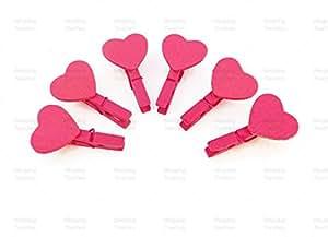 30mm Rose Vif Mini Pinces à Linge avec 18mm assortis Rose Vif Craft pour mariage Style shabby chic–Lot de 100