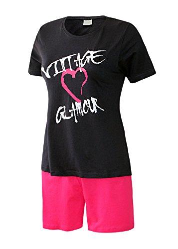 Pyjama pyjama court pour femme nuit combinaison courte pour femme 100%  coton taille s m l xL oberteil marine/short uni rot