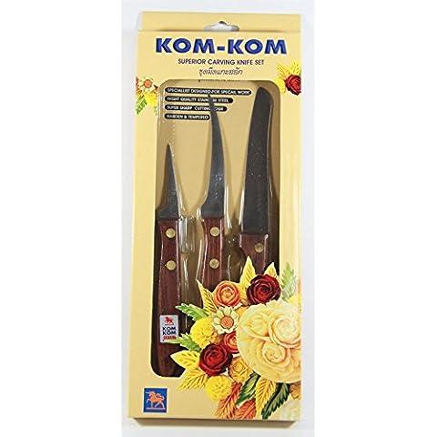 Kom Kom 3 Pezzi di frutta & Vegetable intaglio Peeling Knives Set di legno