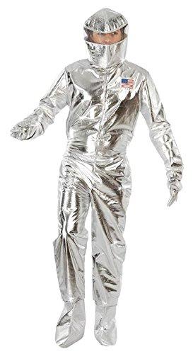 Motto Kostüm Weltraum - Astronaut Anzug Karneval Motto Party Kostüm Herren Weltall Rakete Silber Gr. M - L, Größe:L