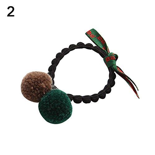 ZHOUBA Haarband mit Schleife, elastisch, 2 Bommeln, für Pferdeschwanz, Party-Haarband
