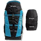 Mufubu Presents Climber 45 + 5 LTR Rucksack for Hiking, Trekking Travel Backpack with Rain Cover - Black/Blue