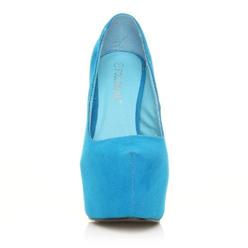5e00271125109 ... Chaussures À Talon Stiletto Très Haut Et Plateaux Decollete, Faux Suede  Turquoise, Daim Turquoise
