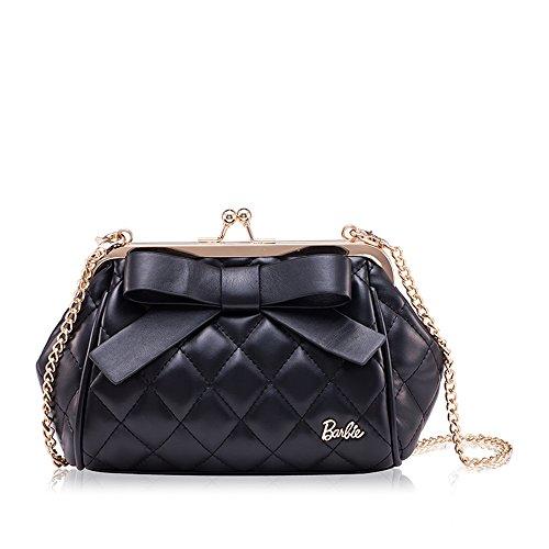 Barbie BBFB141.03A Bolso con asa de cadena de color negro con un lazo bolso bandolera elegante.