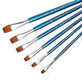 Gudelaa 6 Piezas Nylon Hair Art Paint Brush Set para Acuarela, óleo, Pintura acrílica/artesanía, uñas, Pintura de la Cara Azul
