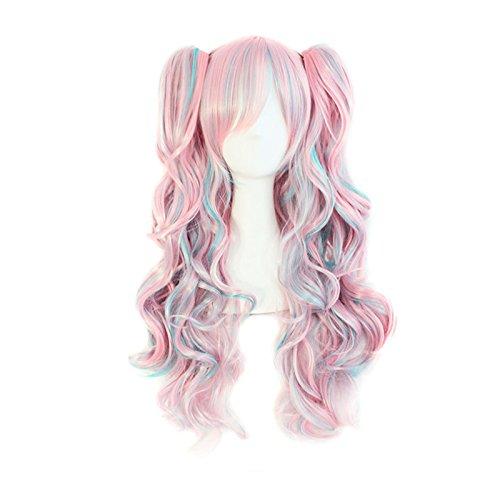 Lolita Perücke (Ladieshair Cosplay Perücke blau pink 70cm lockig Lolita Wig)