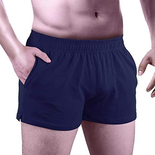 """Alivebody Herren Kurze Sporthose Bodybuilding Shorts 3"""" Inseam mit Tasche Baumwolle Borland M"""