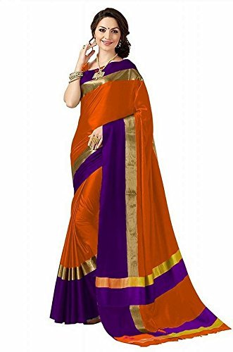 Abhishek Art Women's Poly Cotton Saree With Blouse Piecs (Orange)