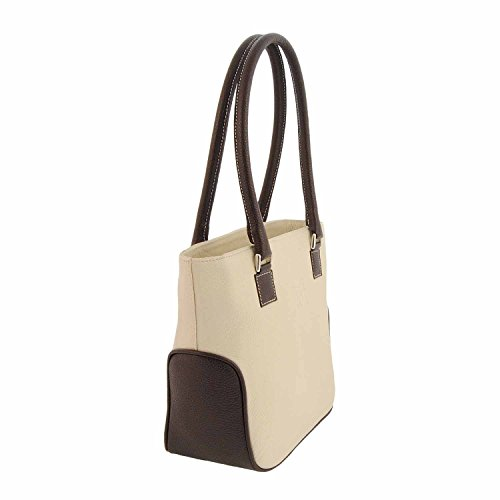 Stile borsa in pelle di shopping con due manici HIELO/MARRON