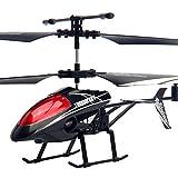 LPRWEC Kinderspielzeug-Flugzeug-Aufladungsjungen-Fernsteuerungsflugzeug-Gyro und geführte Licht-Hubschrauber-Widerstand zum fallenden Drohne,Black