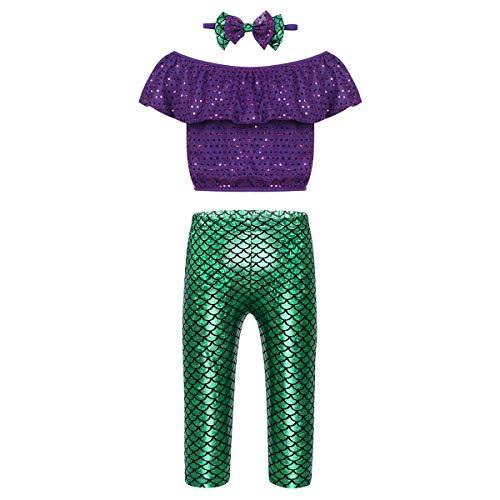 dPois Mädchen 3 Pcs Meerjungfrau Kostüm Outfit Bekleidungsset Rüschen Shirt Oberteile mit Pants Stirnband Kinder Spielanzug für Fasching Karneval Halloween Lila&Grün 104-110/4-5Jahre