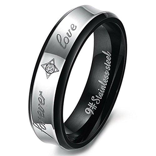 MunkiMix Edelstahl Ring Band CZ Zirkon Zirkonia Schwarz Silber Ton Valentine Lieben Paar Paare Hochzeit Engagement Verlobungsringe Verlobung Größe 57 (18.1) Herren (Cz Hochzeit Ringe Größe 5 1 2)